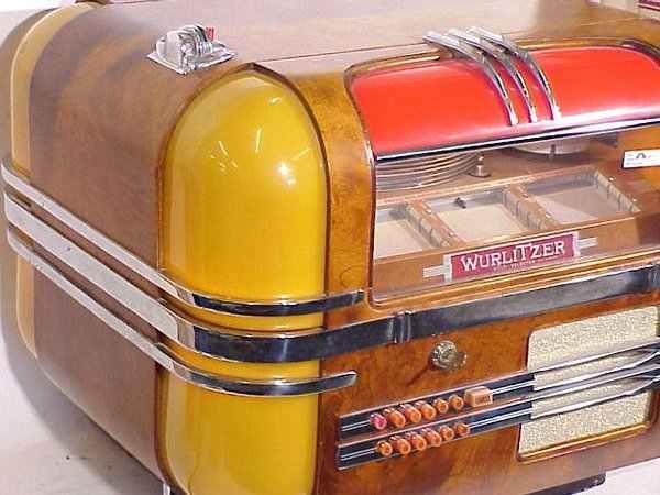 Wurlitzer model 41 jukebox & original wood 410 stand - YouTube