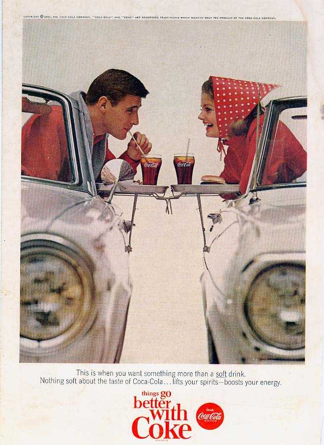 classic cocacola advertising from the 1950s and 1960s