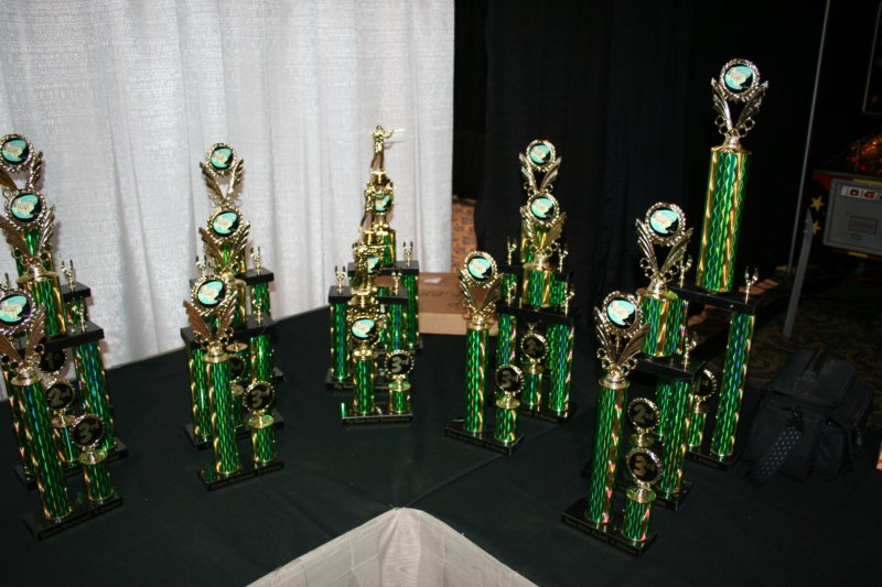 Some of the tournament trophies